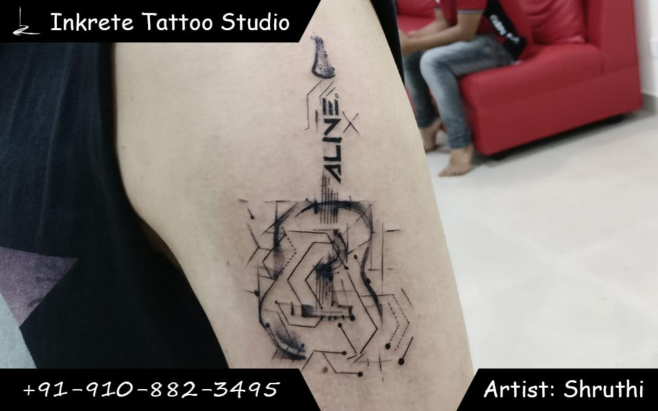 guitar tattoo, gemetric tattoo, Small tattoo ideas