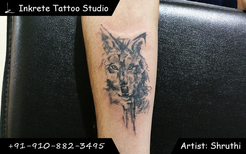 Abstract wolf tattoo, forearm tattoo